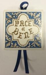 Blauw tegeltje Pace e Bene